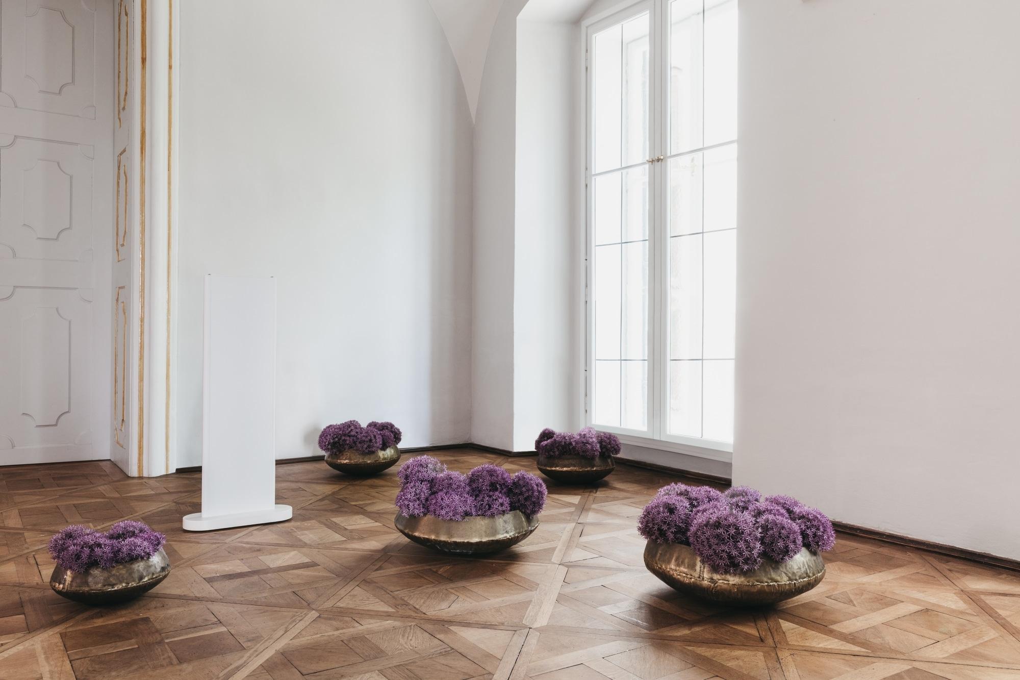 Die Redwell-Nr. 1 ist eine moderne weiße Infrarotheizung, die inmitten vom Blumendeko in einem großen Saal mit hohen, weißen Wänden steht.