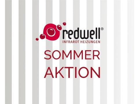 Sommeraktion auf Redwell-Produkte mit grauen Streifen im Hintergrund